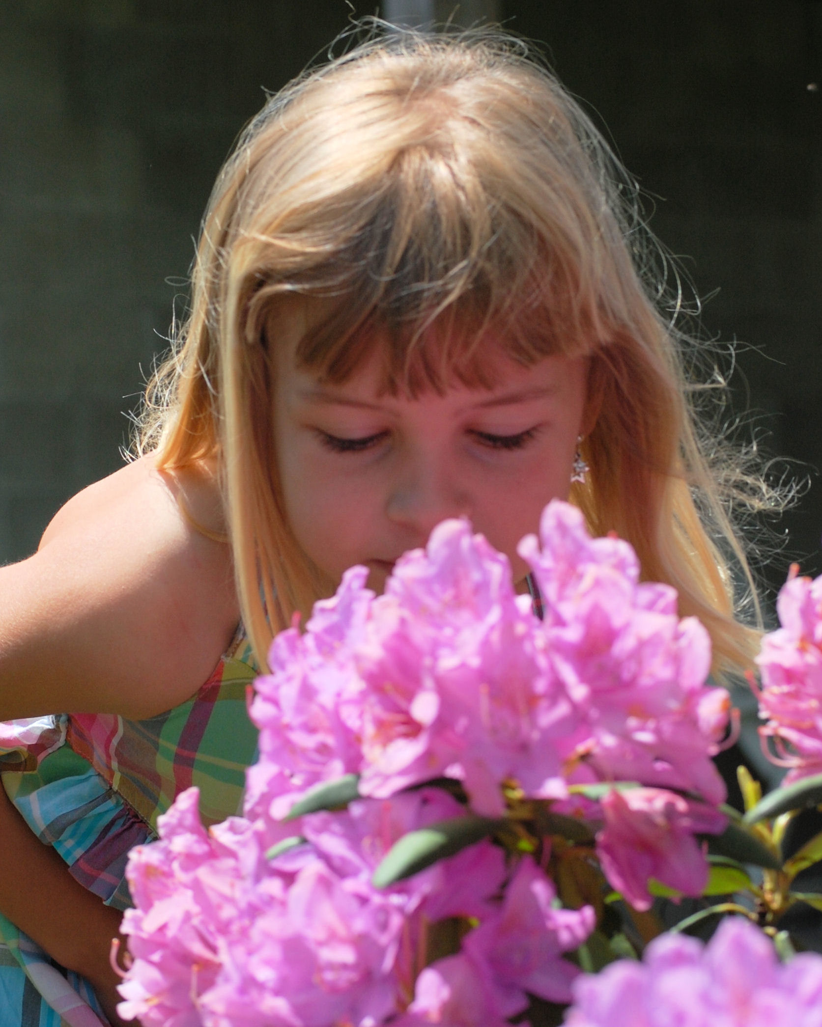 My little cousin Chloe takes a moment to stop and smell the flowers